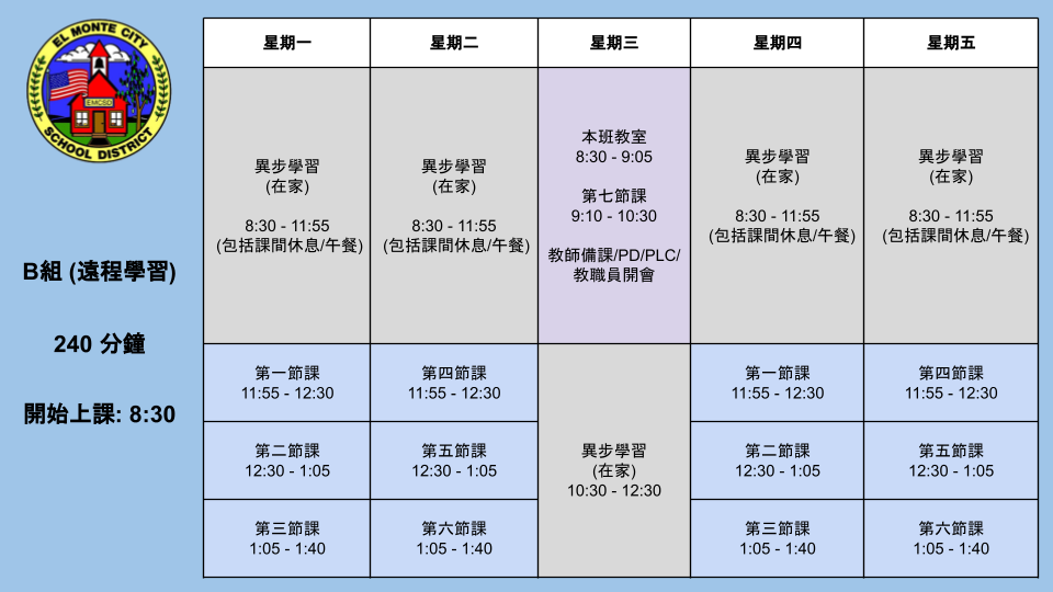 7th and 8th Grade Group B Schedule CHINESE