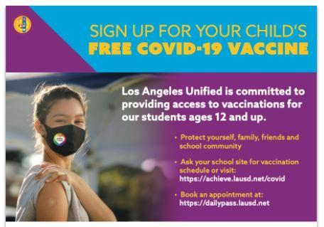 Free COVID Vaccines for Students!  Dose 2 on September 22! Featured Photo