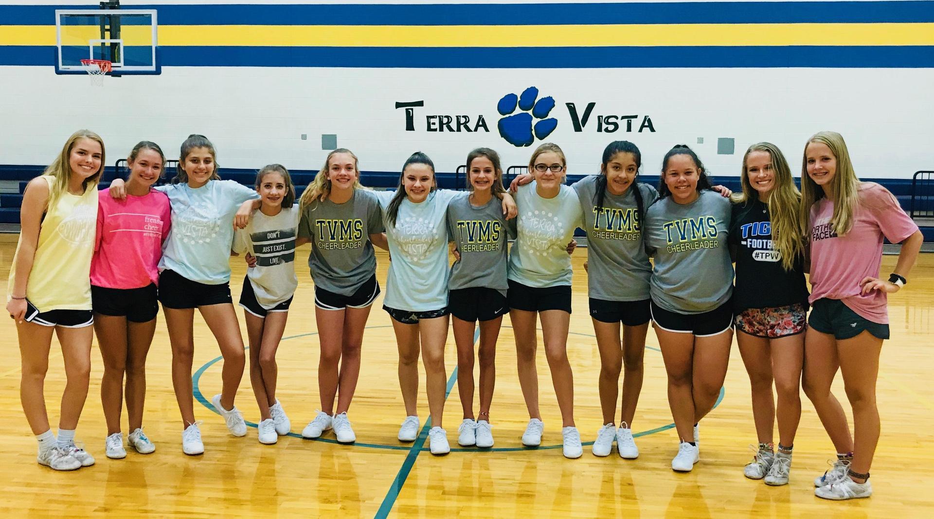 High School Cheerleaders helped us with stunting!