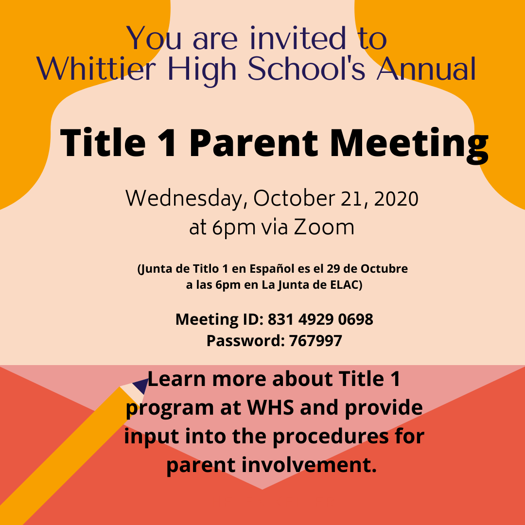 Title 1 Meeting Wednesday Oct. 21, 2020 @6pm via Zoom