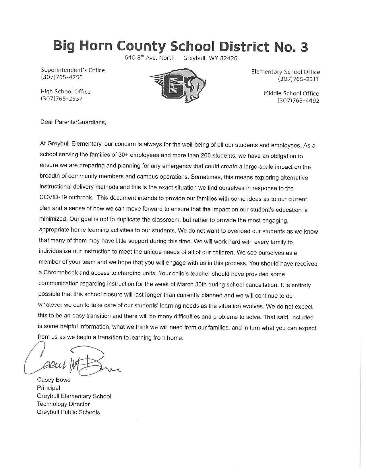 English Parent Letter 1
