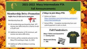 PTA Fall Announcements