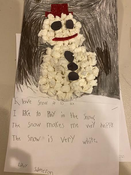 Snowman project with red glitter hat and smile