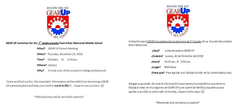GEAR UP Invitation for ALL 7th grade parents from Alton Memorial Middle School
