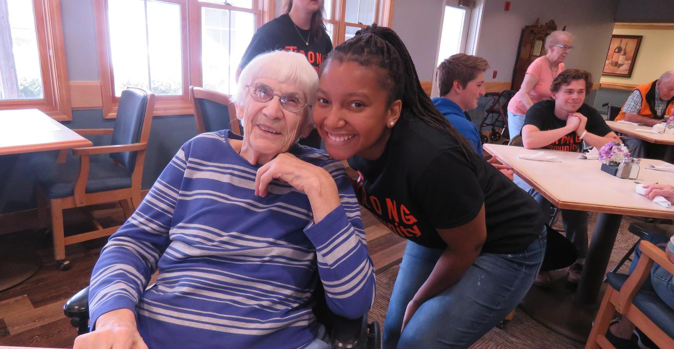 TKHS students play Bingo with residents at Carveth Village as part of service day.