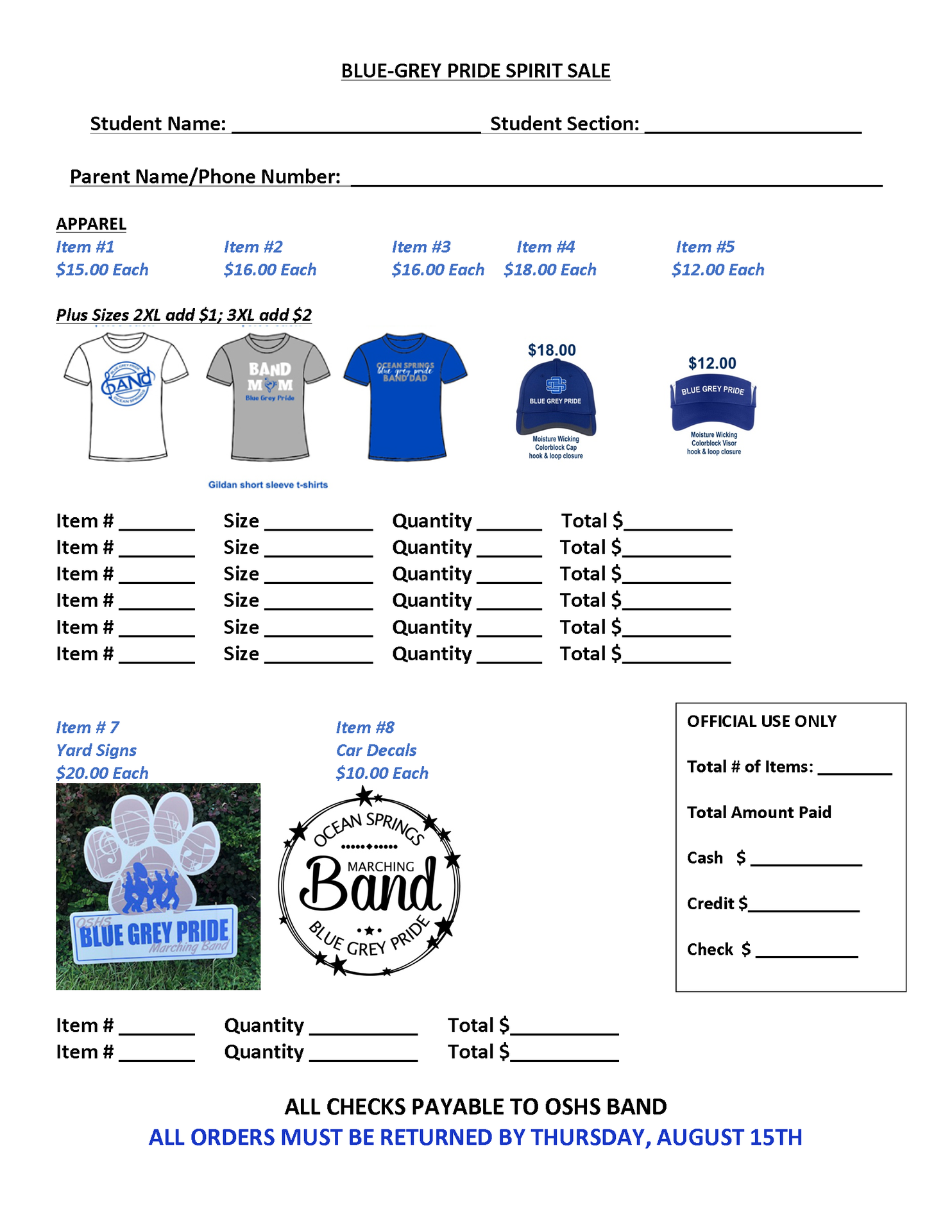 2019 Spirit Gear Order Form