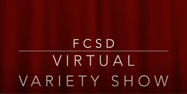 A red graphic with the text: FCSD Virtual Variety Show