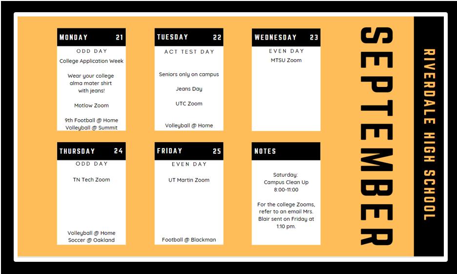 Weekly Schedule 9-21-2020
