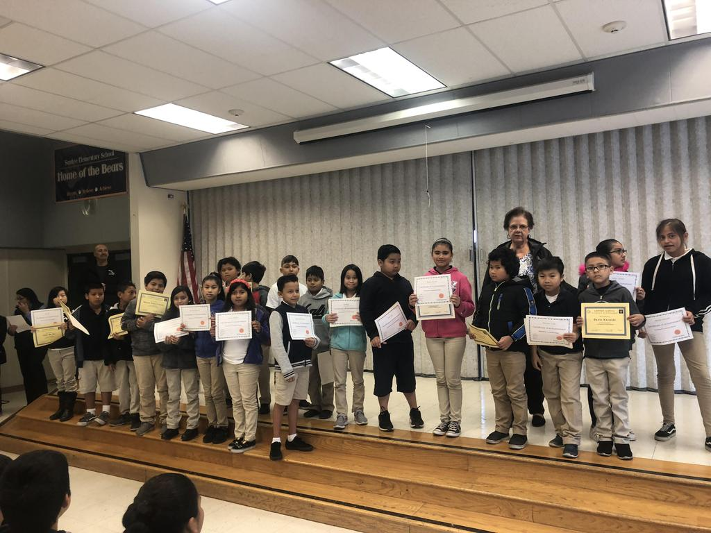 trimester one award winners in Ms. Johnson's class pose for picture