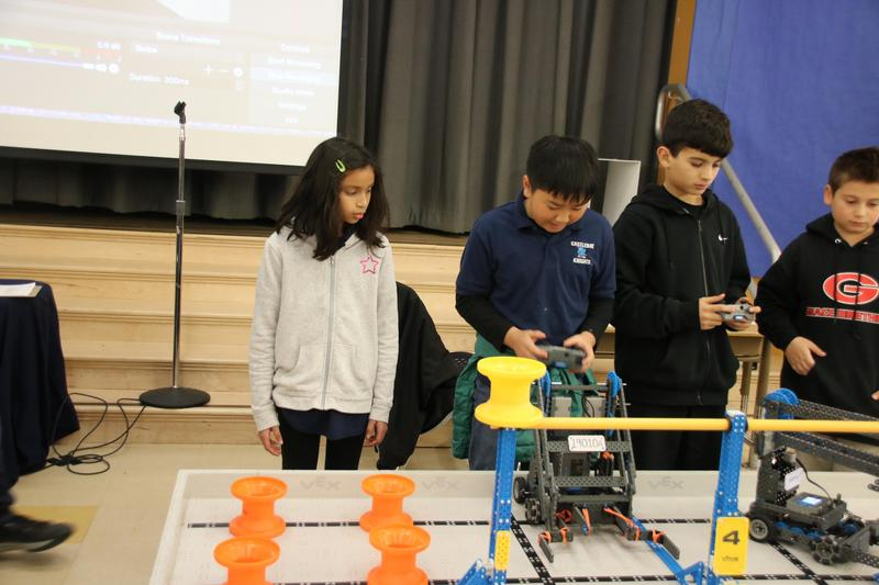 Students from Castlebay participating in a robot challenge.