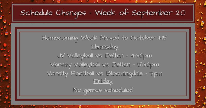 Schedule Changes - Week of Sept 20 2021