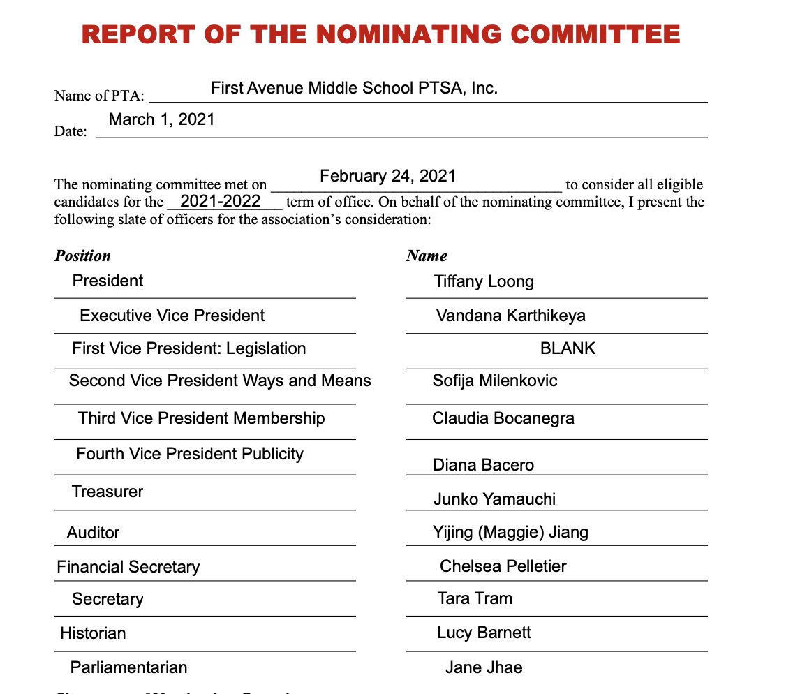 Proposed slate of officers for 2021-2022