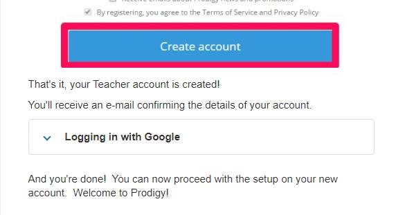 Prodigy Teacher account