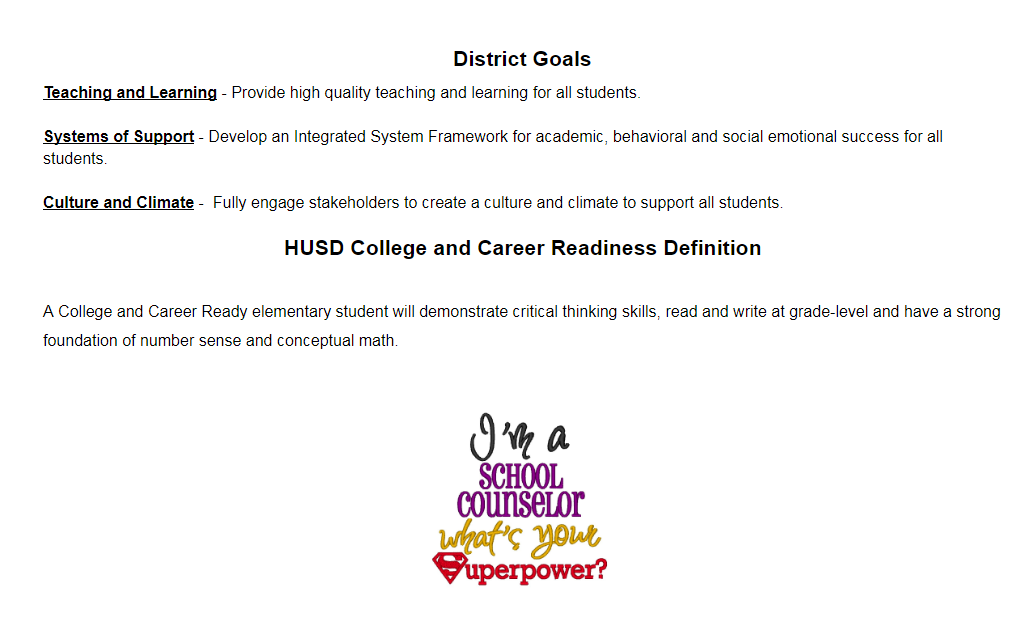 District Counseling Goals