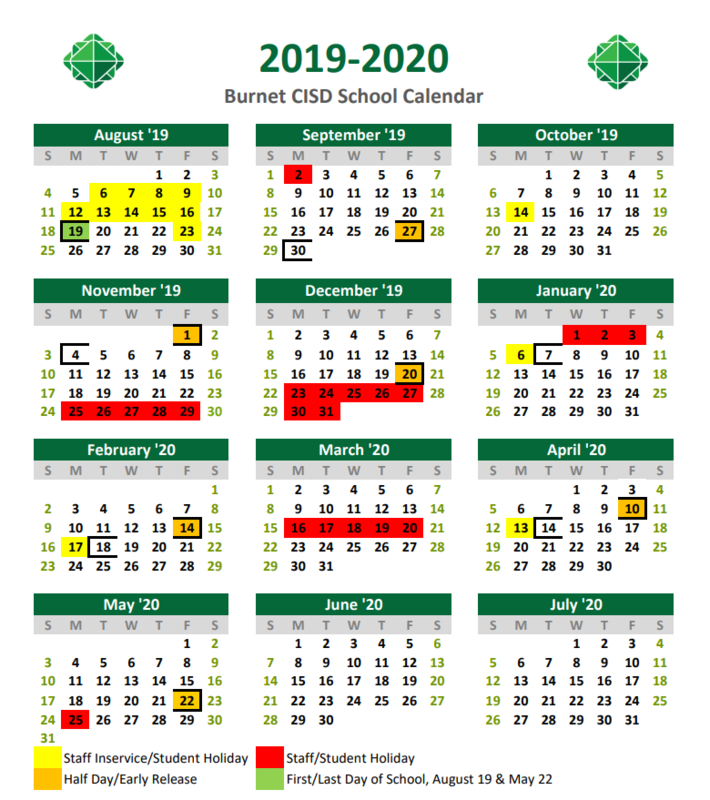 2019-2020 School Year Calendar Thumbnail Image