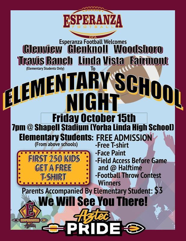 Esperanza Football: Elementary School Night on October 15 at Shapell Stadium