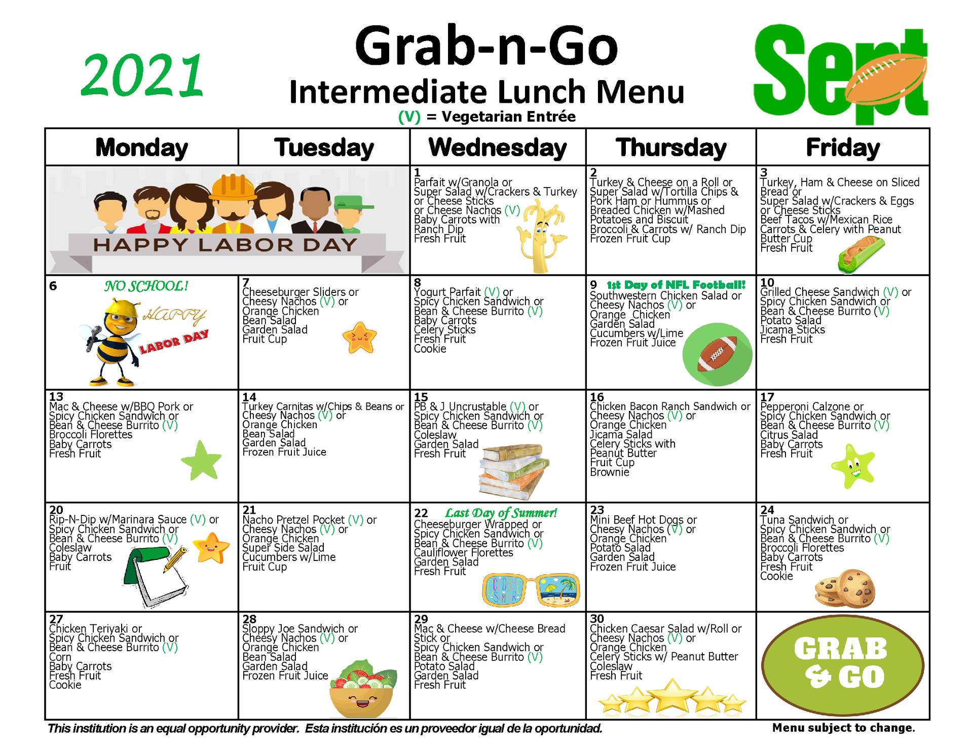 Intermediate Grab-n-Go Lunch Menu September 2021