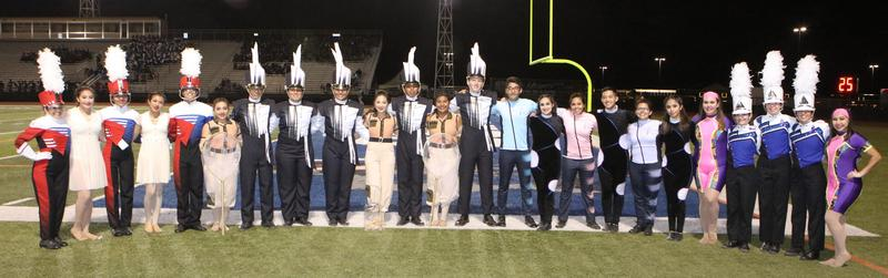 All four Edinburg CISD marching bands earn UIL Division 1 Rating at the 77th Annual Pigskin Jubilee. Pictured L-R: Drum majors and color guard officers from Edinburg High School, Edinburg North High School, Economedes High School and Vela High School.