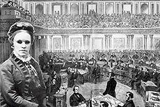 Drawing of Fanny Crosby with a forground of a 19th century Congress