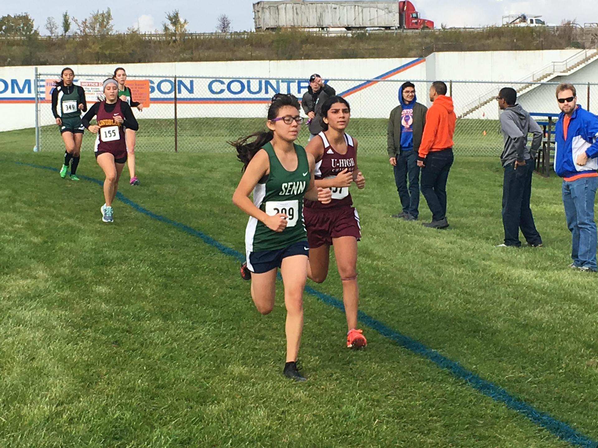 Junior Berenice Garcia runs in the 2018 Sectionals meet