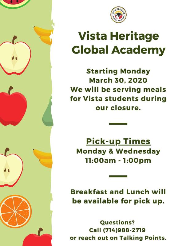 We will be serving meals for Vista students during our closure. Featured Photo