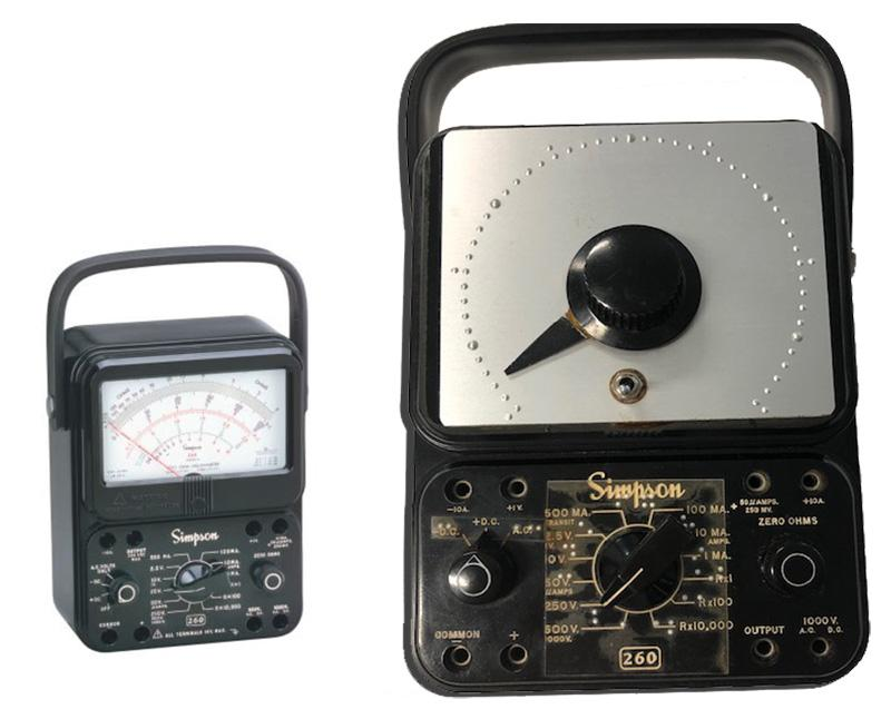 An adapted Simpson 260-8 12388 Black Analog Multimeter next to a photo of the original