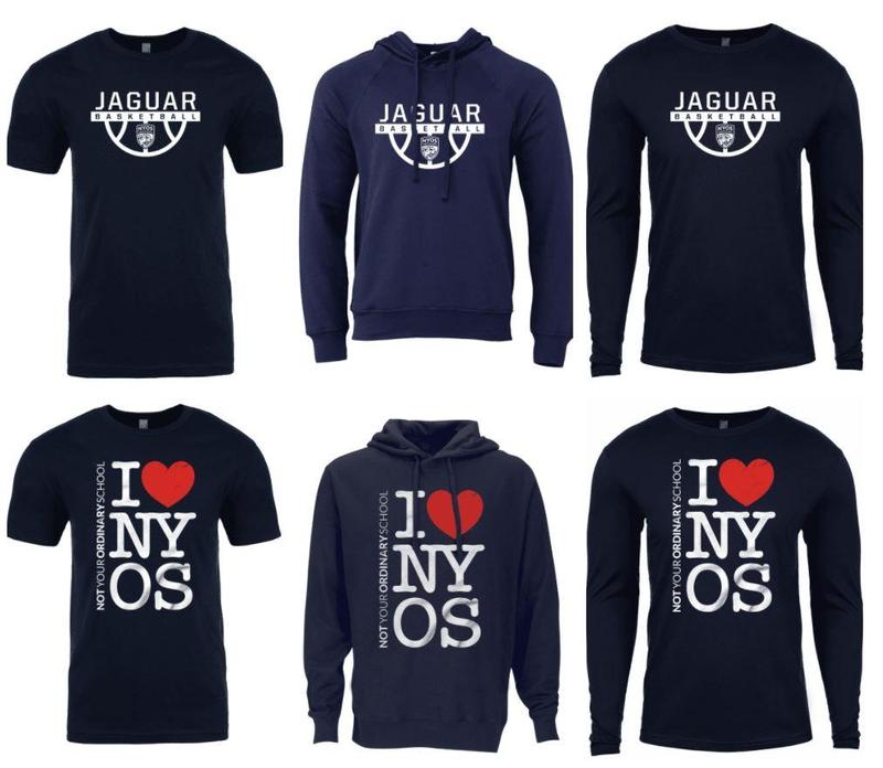 Navy blue t-shirts, long sleeve shirts and hoodies. One design has the words