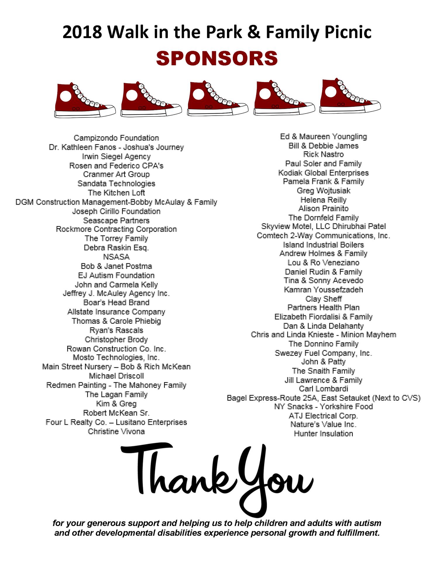 DDI Walk Sponsor thank you