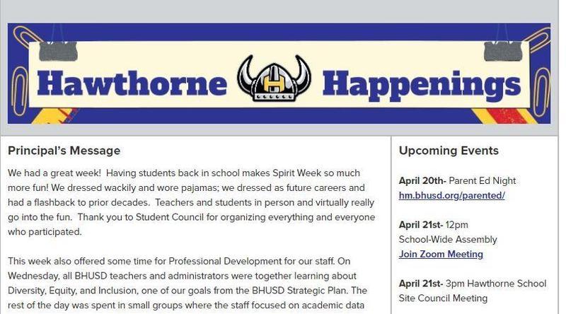 Hawthorne Newsletter - Hawthorne Happenings - April 16, 2021 Featured Photo