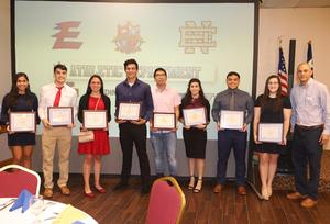 Edinburg CISD student athletes pose for a photo during an Edinburg Rotary Club meeting at the Echo Hotel in Edinburg.
