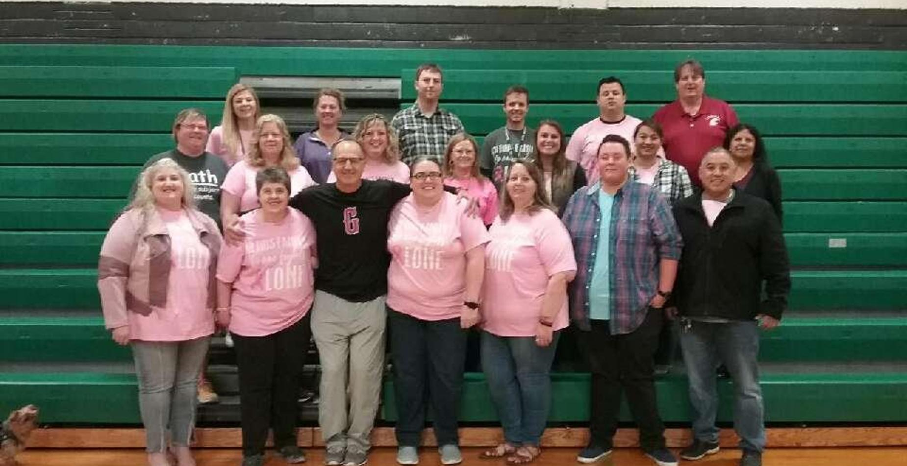GMS Teachers supporting Breast Cancer awareness and Breast Cancer survivor Brenda Hubert!