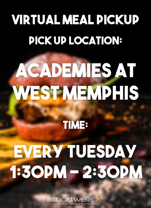 Virtual Meal Pick-up every Tuesday 1:30 pm to 2:30 pm at the Academies of West Memphis High School.