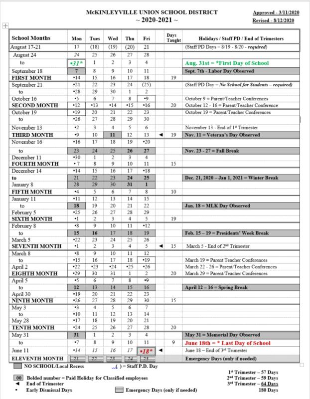 Approved 2020 -2021 Academic Calendar