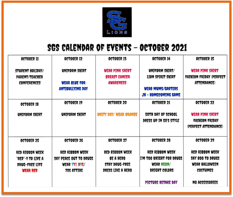 SGS October Calendar of Events Featured Photo