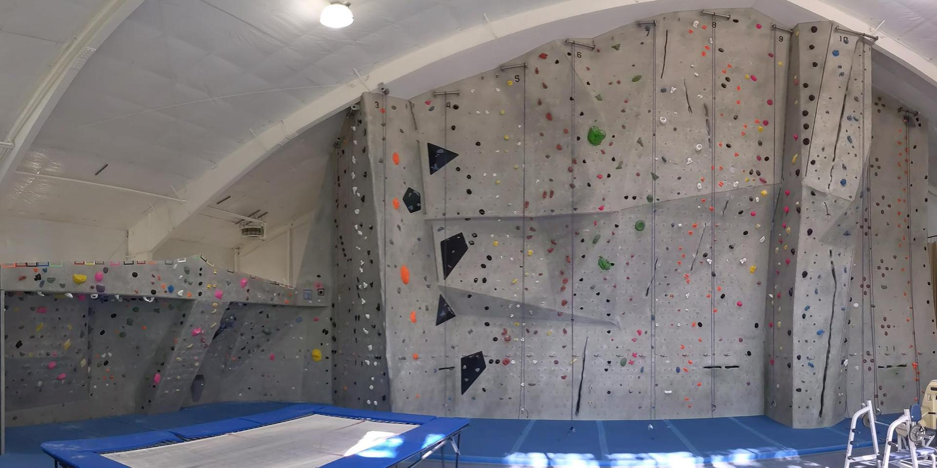 The Beverly Selinger Buder Climbing Wall and bouldering cave.