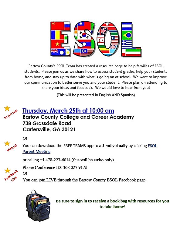 ESOL Parent Night - March 25th Featured Photo