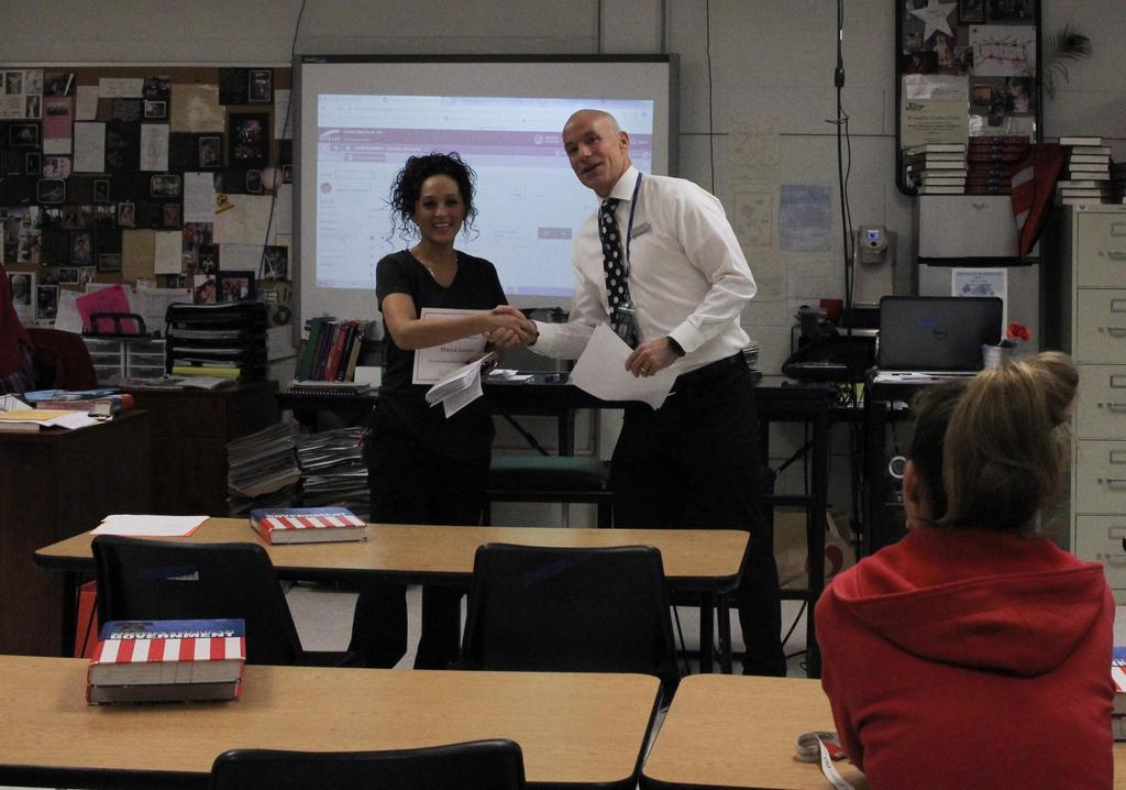 Superintendent Presenting Award