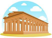 Cartoon image of ancient Greek temple