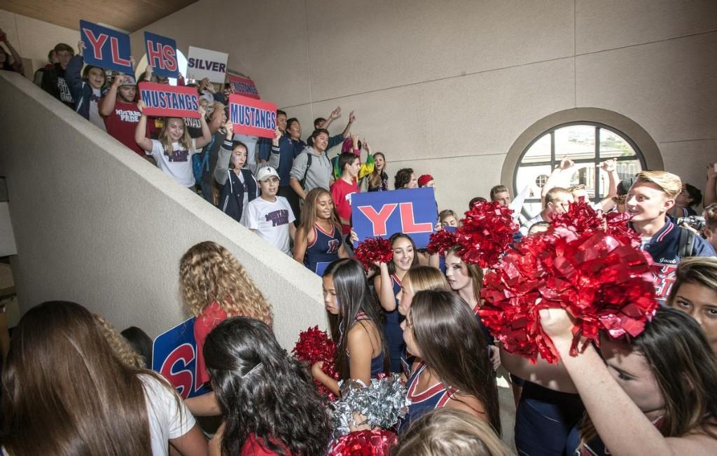 Students during the roaming rally through the YLHS hallway