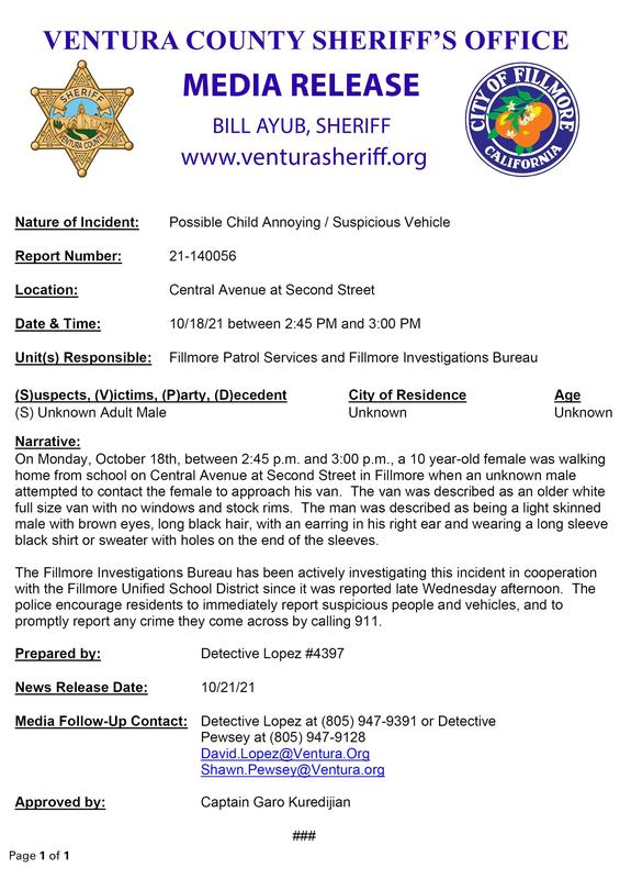 Ventura County Sheriff Media Release Featured Photo