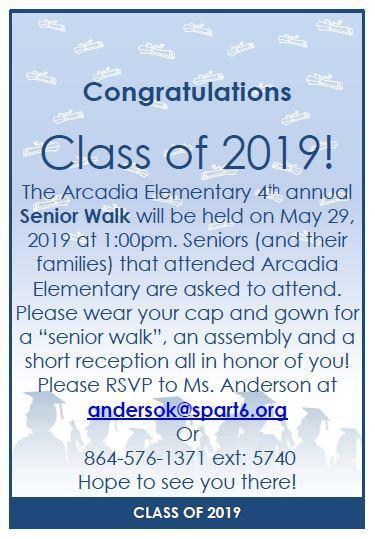 Senior Walk Invitation - May 29, 2019 at 1:00 P.M.