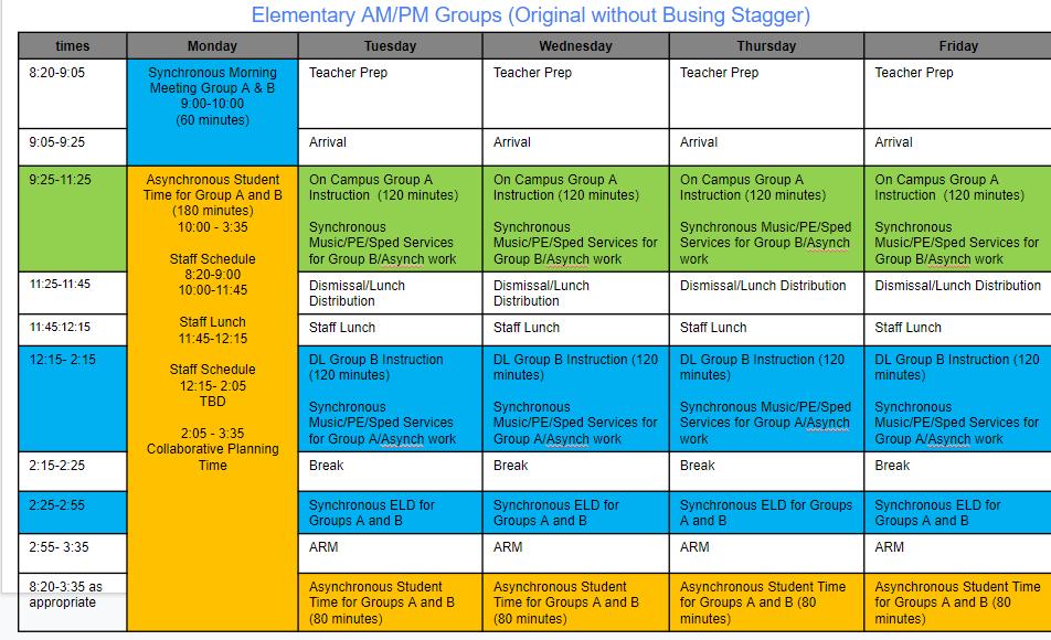 Draft Elementary Schedule