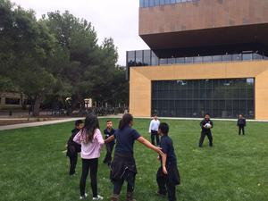 Students playing at Stanford University.