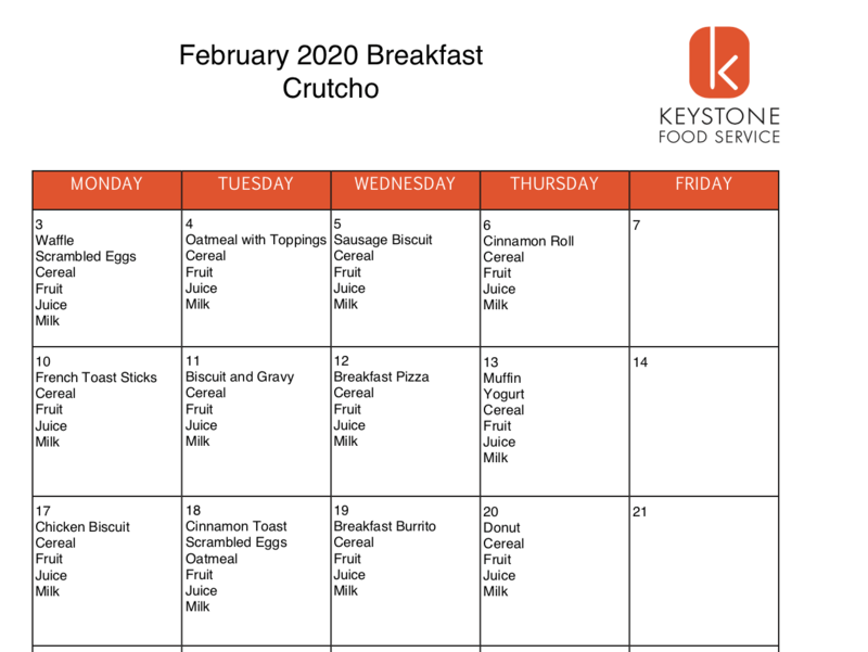 February Breakfast & Lunch Menus Featured Photo
