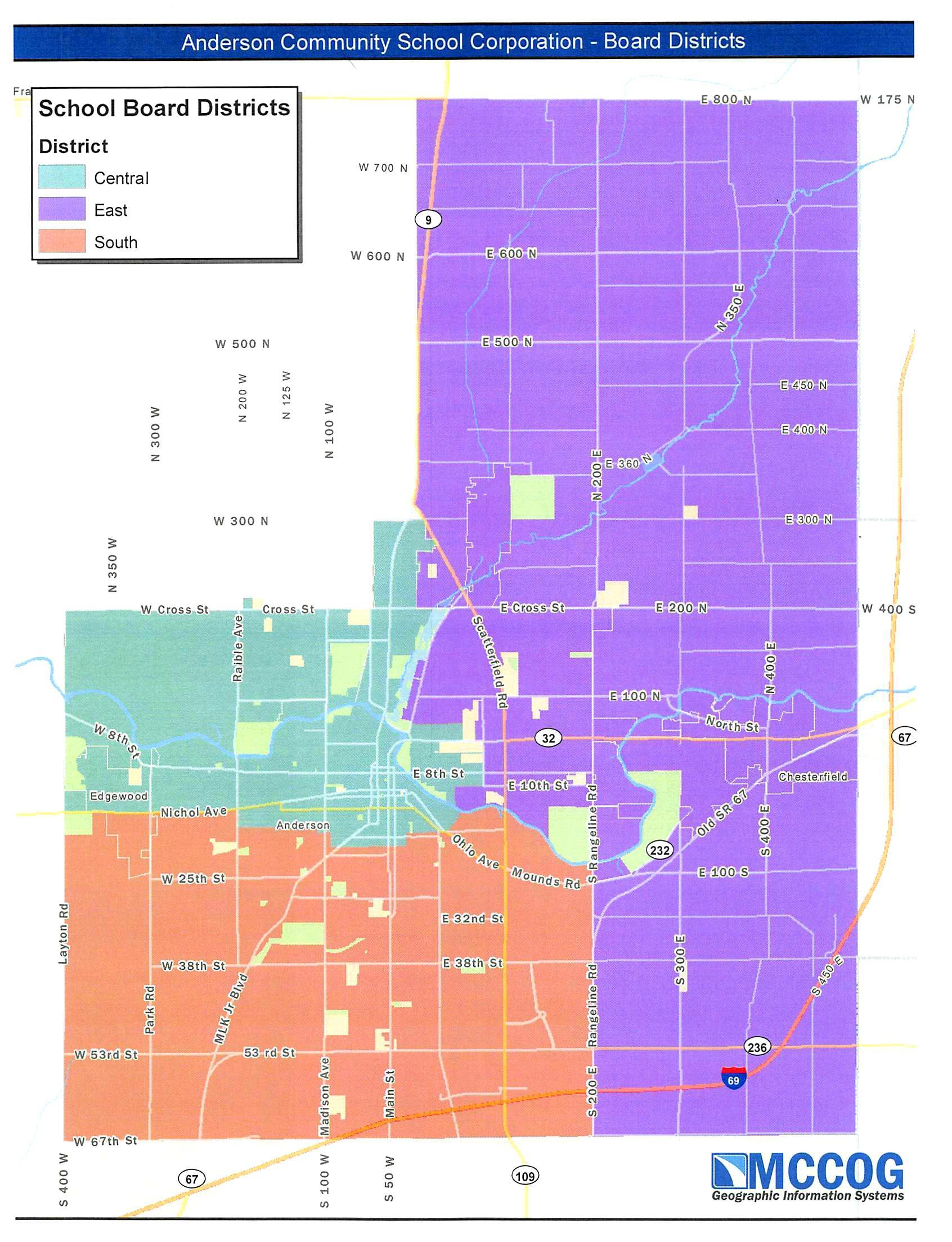ACSC School Board Districts map