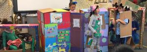 Photo of a team of 1st grade students who tested their problem-solving skills at a recent regional competition of Odyssey of the Mind.