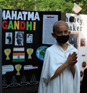 Photo of 5th grader dressed as Gandhi.