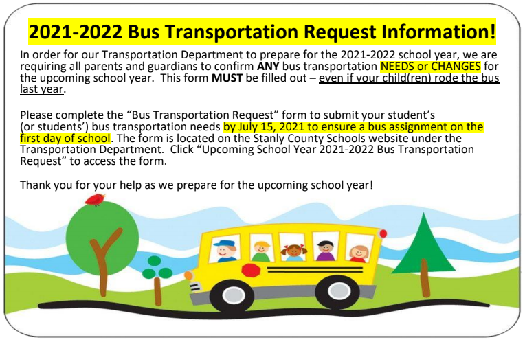 2021-2022 Bus Transportation Request Form Featured Photo