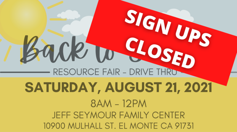 Photo advertising El Monte City School District back to school Resource Fair this Saturday August 21. Photo states that SIGN UPS ARE CLOSED for this event. Click headline for more details