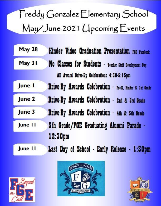Upcoming Events for May/June 2021
